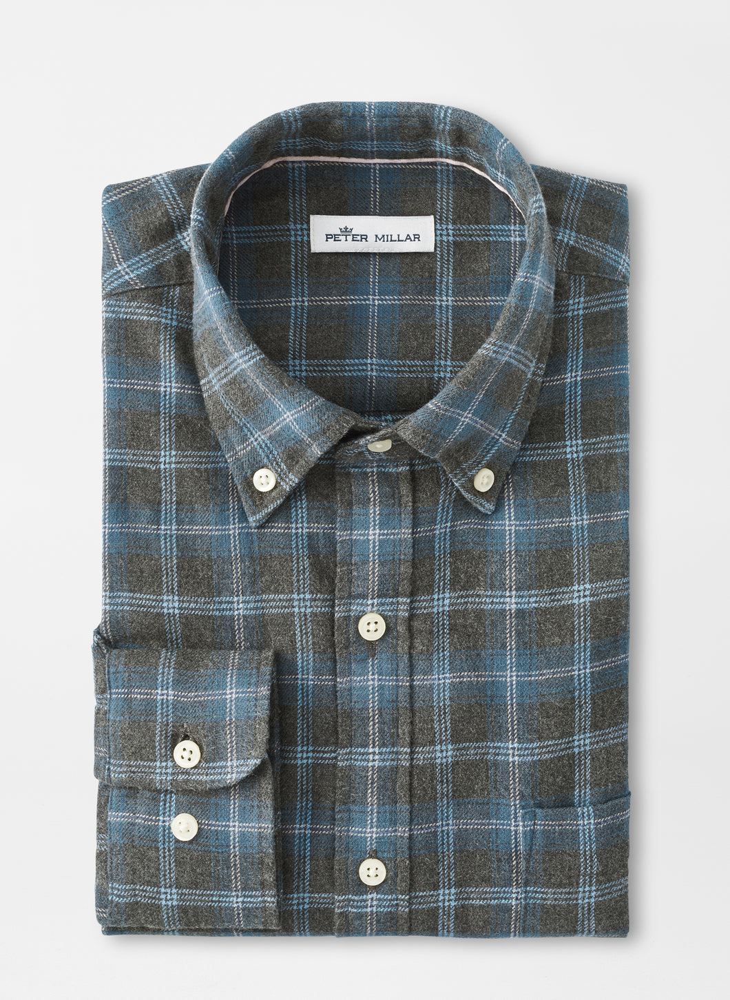 Peter Millar Greymouth Flannel Sport Shirt in Deep Sea