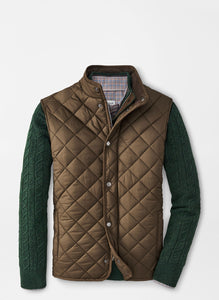 Peter Millar Essex Quilted Travel Vest in Carob Brown
