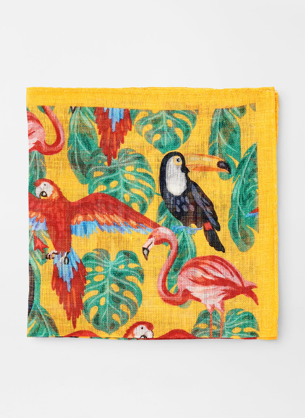 Peter Millar Toucans Too Linen Pocket Square in Yellow