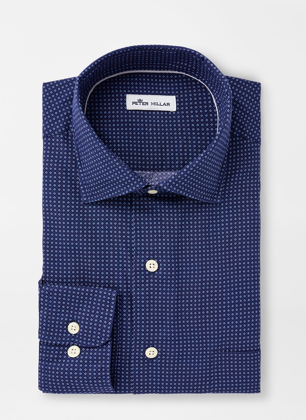 Peter Millar Block Island Cotton-Blend Sport Shirt in Navy