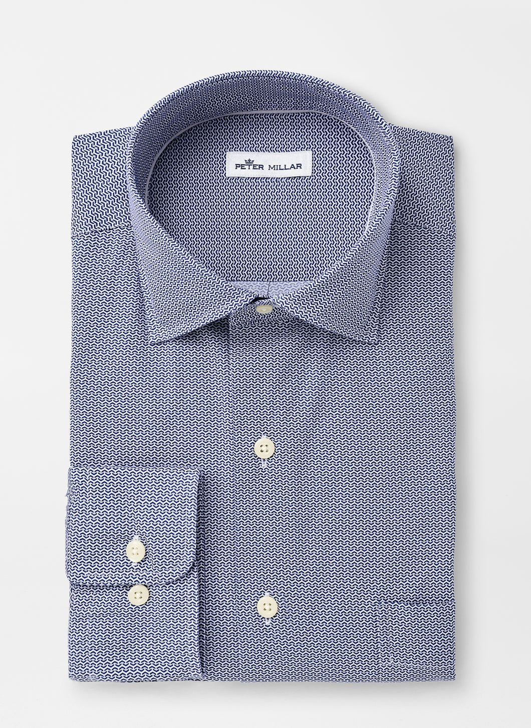 Peter Millar Chevron Brick Cotton-Blend Sport Shirt in Navy