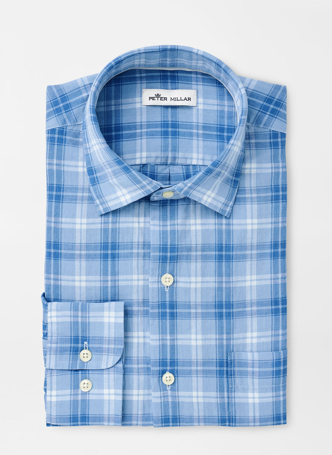 Peter Millar Whitehaven Linen-Blend Sport Shirt in Windsail