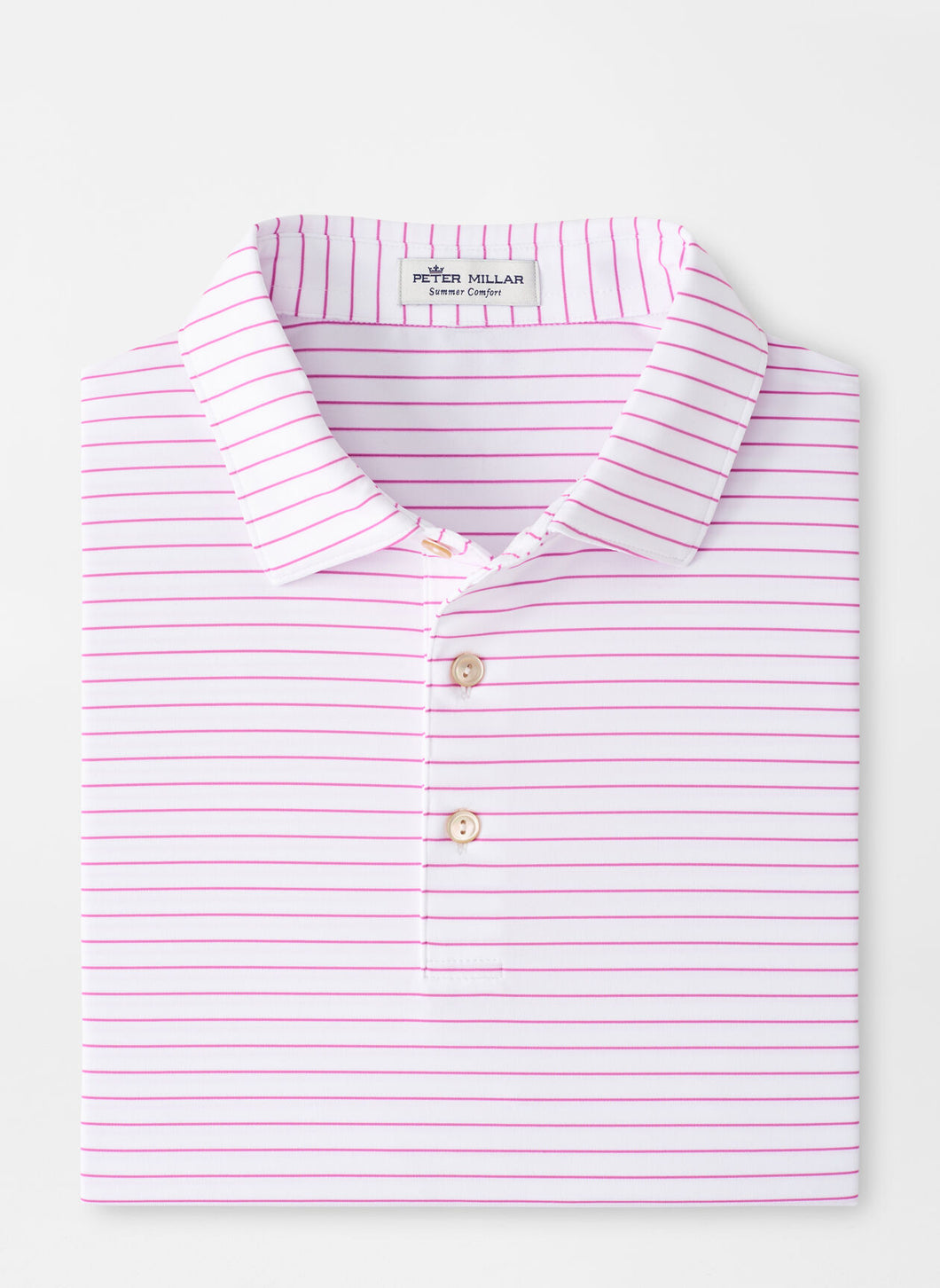 Peter Millar Crafty Stripe Performance Polo in White/Guava Pink