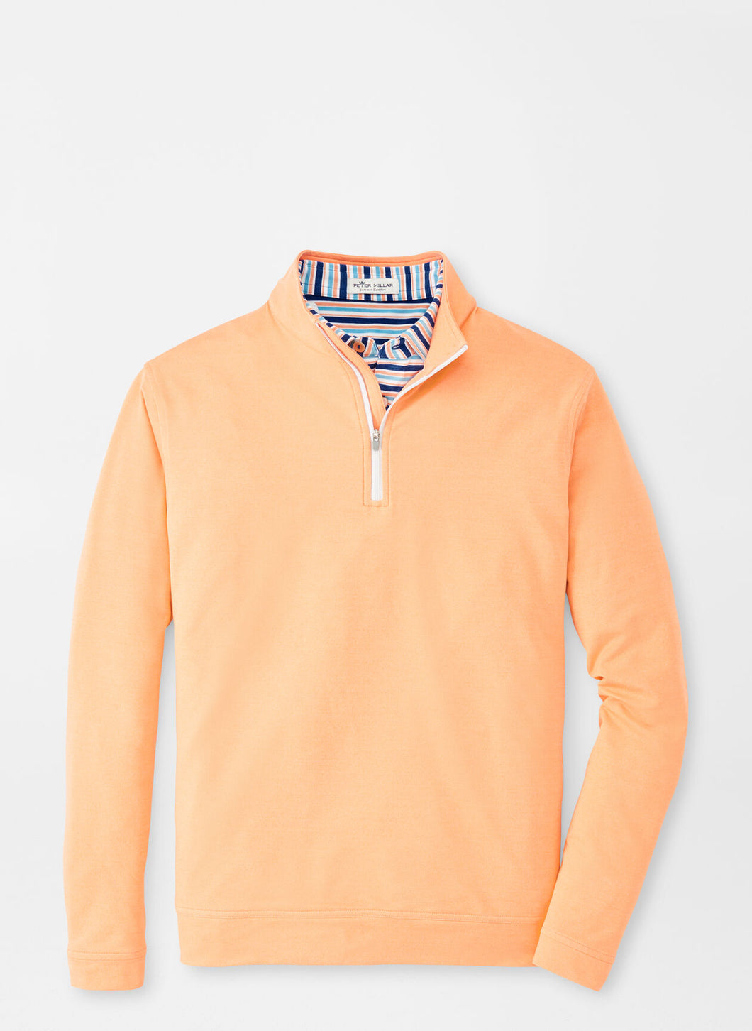 Peter Millar Melange Perth Performance Pullover in Orange Nectar