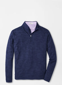 Peter Millar Camo Jacquard Perth Performance Pullover in Navy