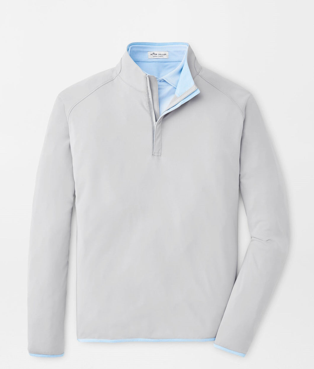 Peter Millar Solar Cool Performance Quarter Zip in Gale Grey