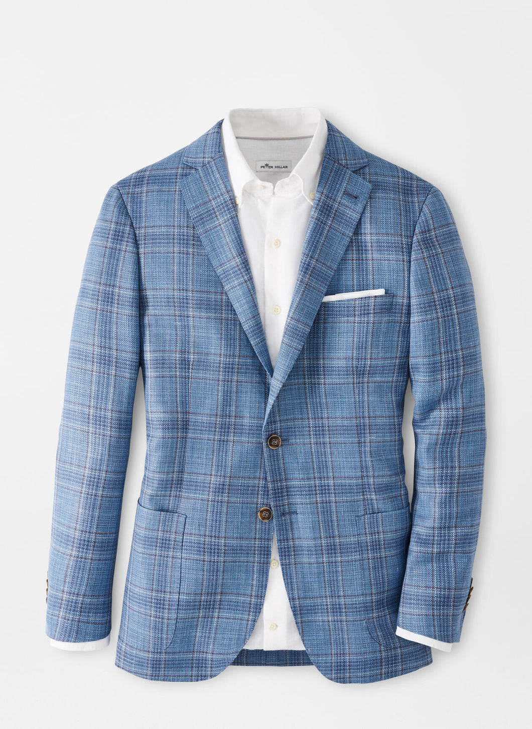 Peter Millar Riverside Plaid Soft Jacket in Blue Sea
