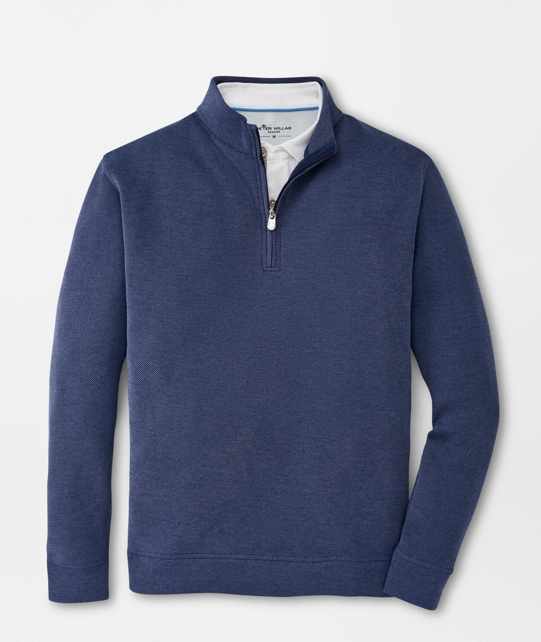 Peter Millar Crown Comfort Birdseye Quarter-Zip in Navy