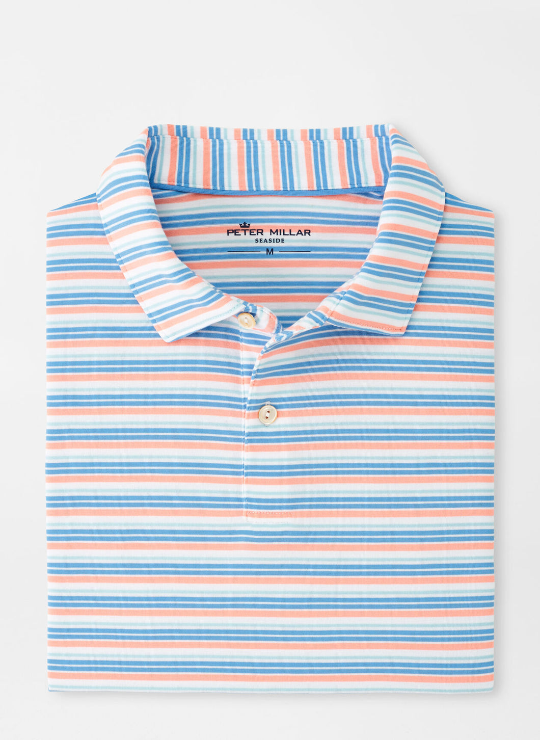 Peter Millar drirelease® Natural Touch Stripe Polo in Wild Salmon