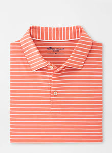 Peter Millar Seaside drirelease® Natural Touch Stripe Polo in Wild Salmon
