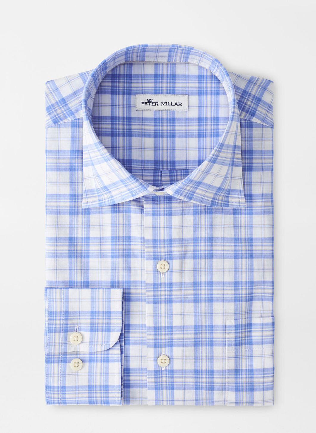 Peter Millar Levin Cotton-Blend Sport Shirt in Blue Sea