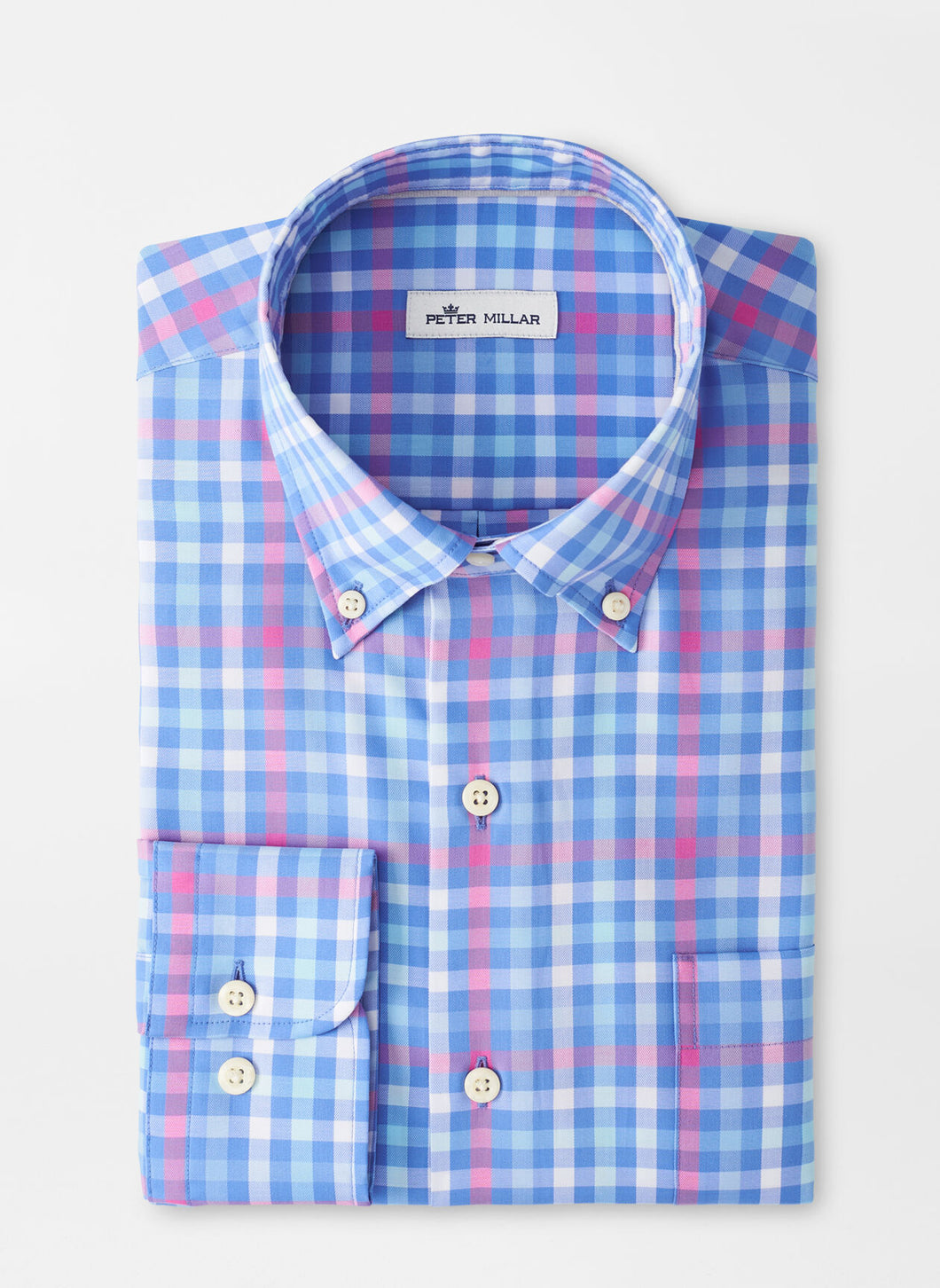 Peter Millar Crown Ease Wells Sport Shirt in Blue Sea