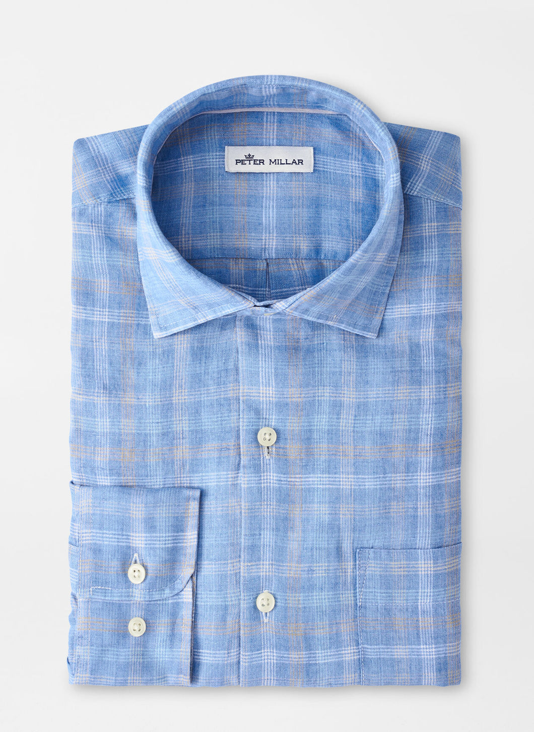 Peter Millar Duxbury Beach Linen Sport Shirt in Coastal Blue