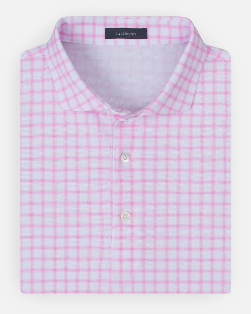 Turtleson Harvey Windowpane Pique Performance Polo in Orchid