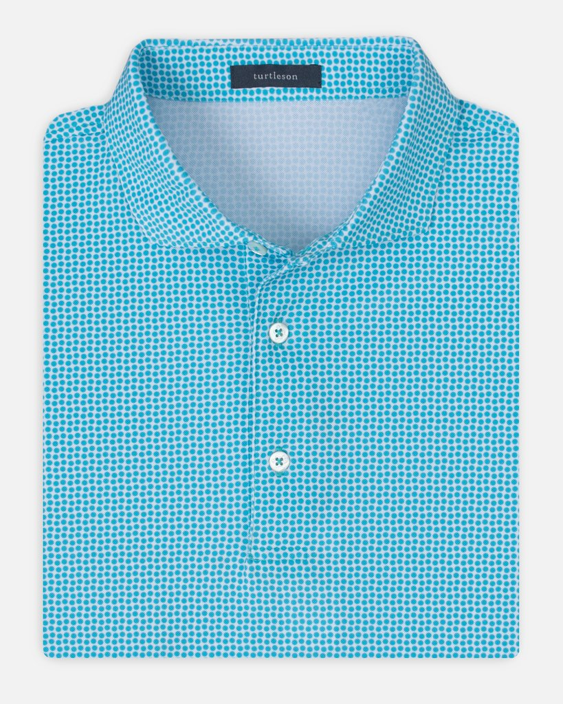 Turtleson Banks Dot Pique Performance Polo in Reef
