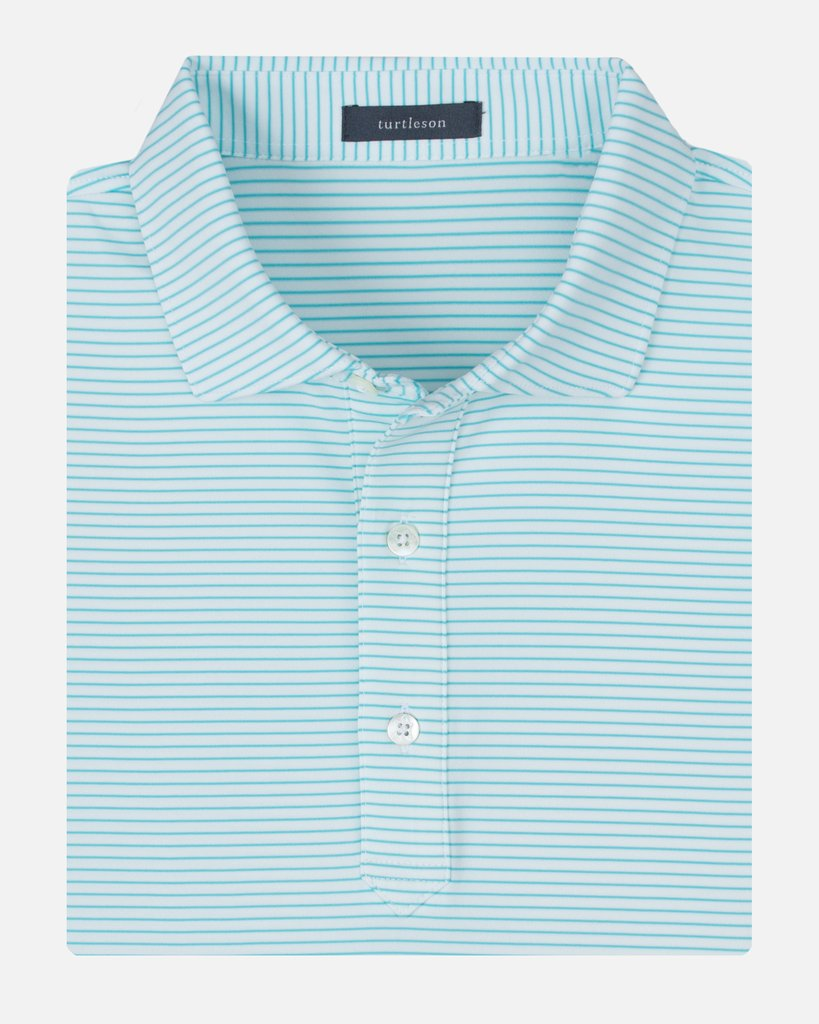 Turtleson King Stripe Performance Polo in Reef