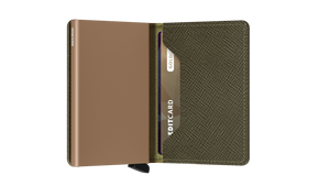Secrid Slim Saffiano Wallet in Olive
