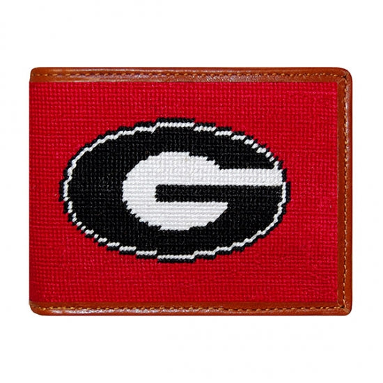 Smathers & Branson Georgia Needlepoint Bi-Fold Wallet in Red