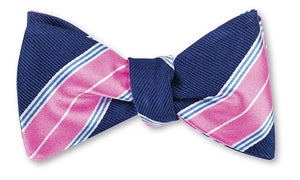 R. Hanauer Chatham Stripes Bow Tie in Navy-Pink