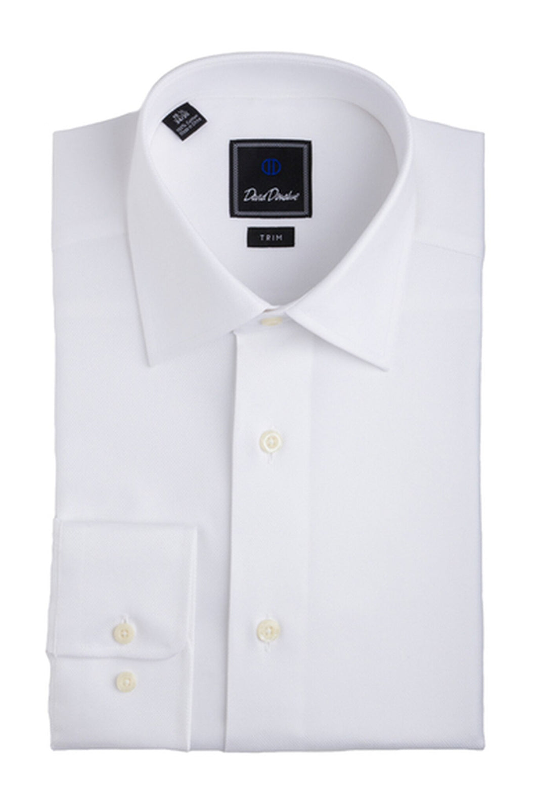 David Donahue Trim Fit Royal Oxford Dress Shirt in White