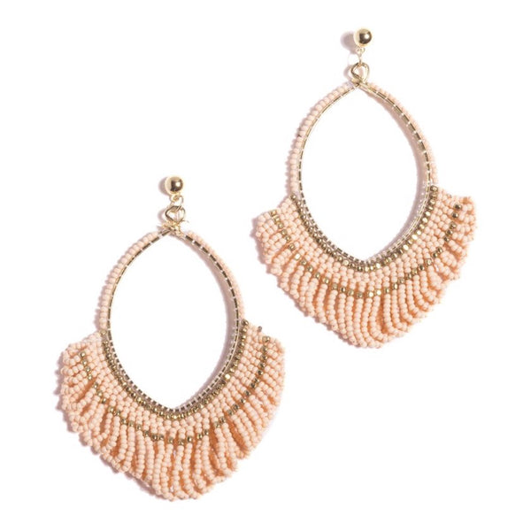 Marquise Shaped Peach Pink and Gold Beaded Earrings