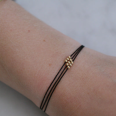 BLACK WISH ME LUCK NYLON CORD PULL BRACELET - katie diamond jewelry