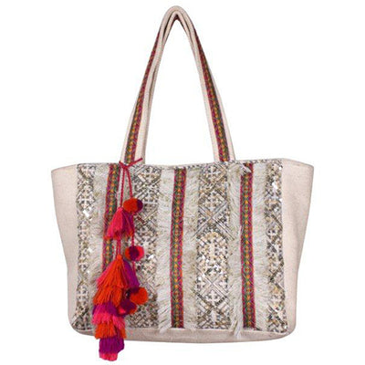 CLOUD CREAM SEQUINED TOTE - katie diamond jewelry