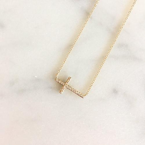 Sideways Gold Diamond Cross Necklace