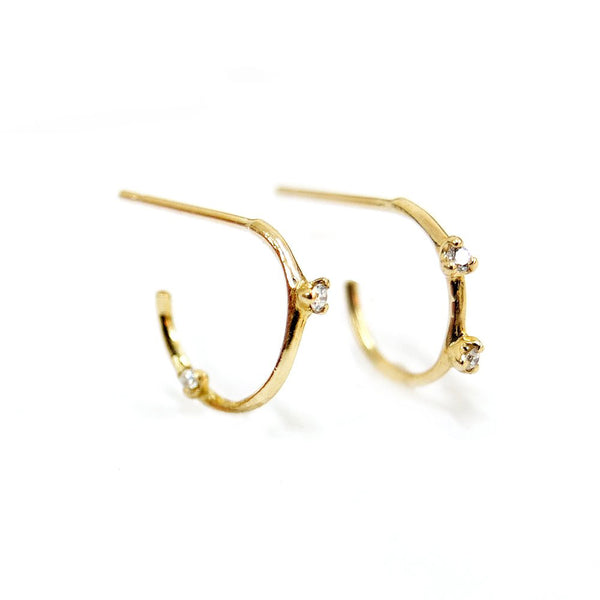 PETITE DIAMOND HOOP EARRINGS