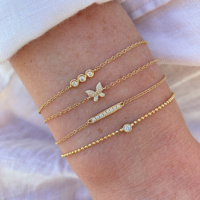 Diamond Butterfly Bracelet and Diamond Bar Bracelet