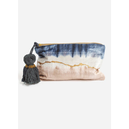 COWHIDE METALLIC LARGE TASSEL POUCH