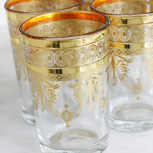 MOROCCAN GOLD DECAL COLORED TEA GLASSES - katie diamond jewelry