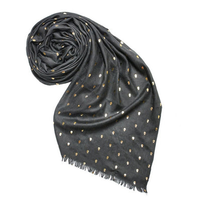 METALLIC SKULLS SCARF - GREY - katie diamond jewelry
