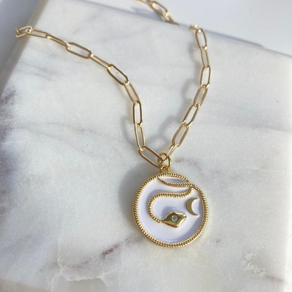 White and Gold Snake Pendant with Crescent Moon on Paperclip Chain Necklace