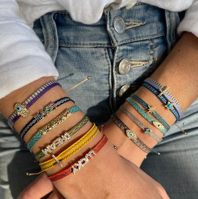 Colorful Pull Bracelets with Charms