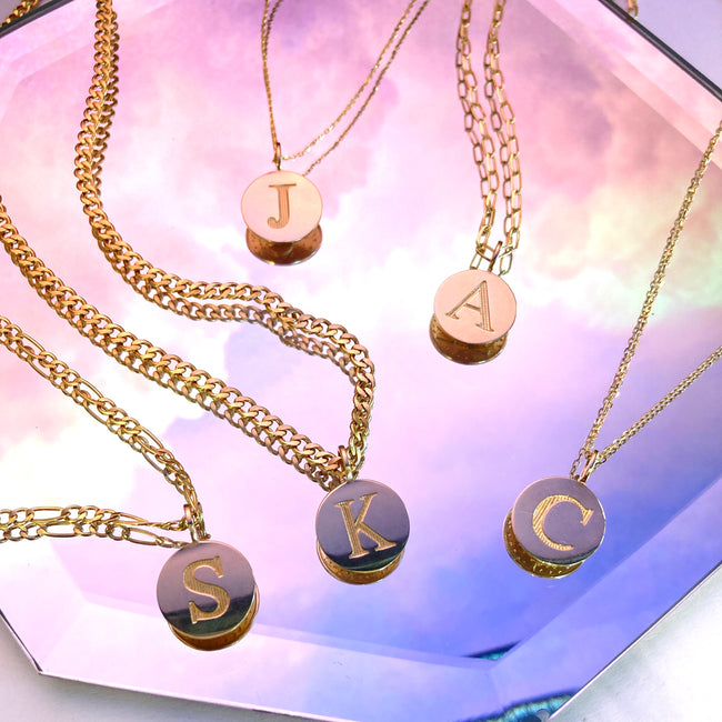 Round Gold Disc Charms with Engraved Initials on different length chains