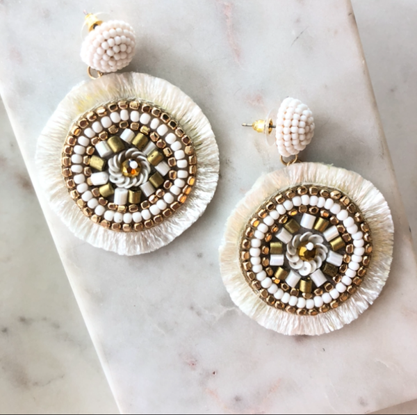 Moroccan Beaded Pinwheel Earrings