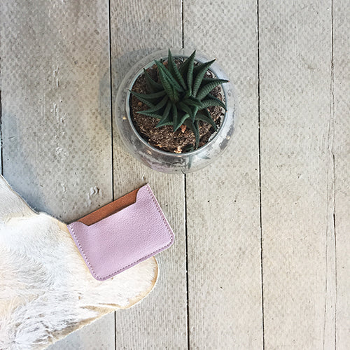 LAVENDER LEATHER CARD CASE