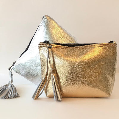 COWHIDE METALLIC LARGE TASSEL POUCH - katie diamond jewelry