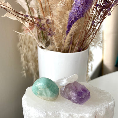 Amazonite, Amethyst and Selenite Calm Gemstone Set at Katie Diamond in Ridgewood NJ