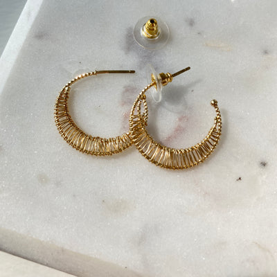 GOLD WIRED CRESCENT HOOPS