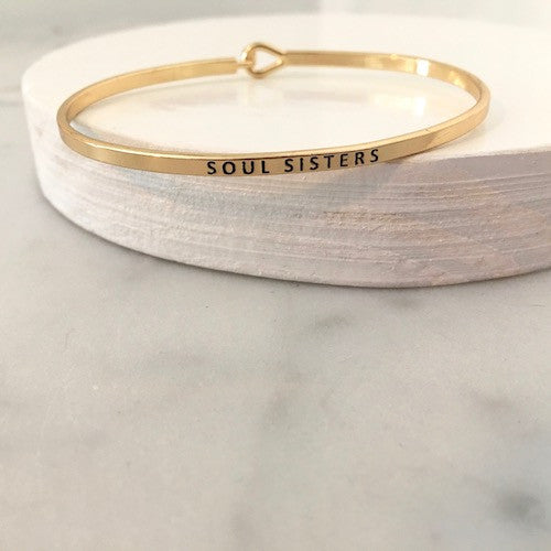 Thin Gold Soul Sisters Quote Bangle