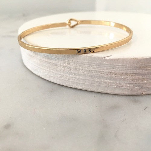 Thin Gold Mrs. Quote Bangle