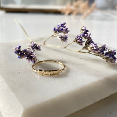 Love Engraved Tiny Gold ID Ring