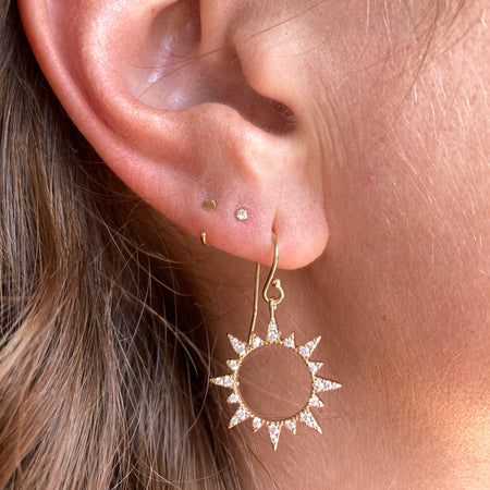 DIAMOND SHAPED WHITE TOPAZ CLUSTER EARRINGS