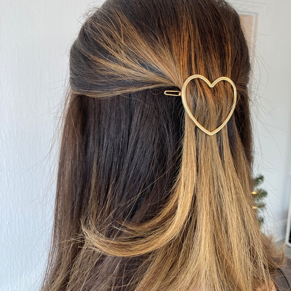 Gold Heart Hair Pin Barette