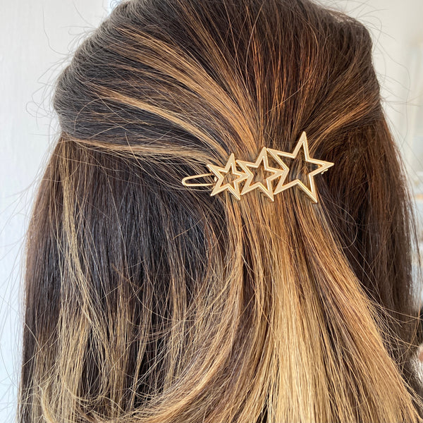 Gold Triple Star Hair Pin Barette
