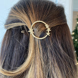 Gold Circle with Stars Hair Pin Barette
