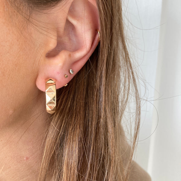 Pyramid Textured Gold Hoops