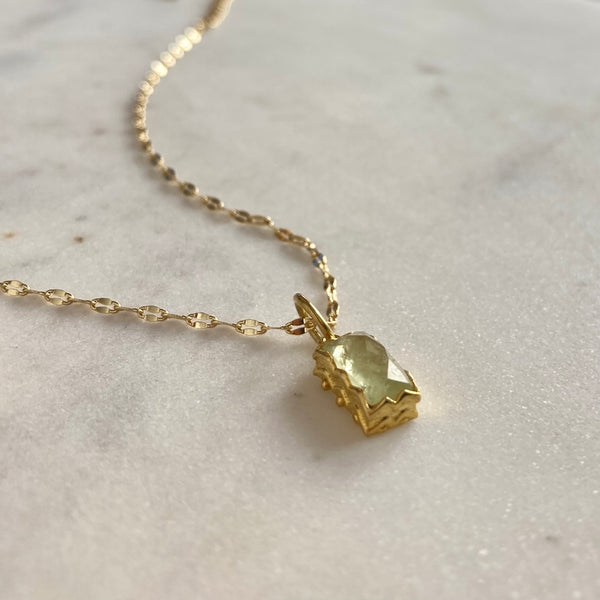 Prehnite Rose Cut Gemstone Necklace